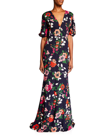 Lela Rose Floral-Print V-Neck Gown