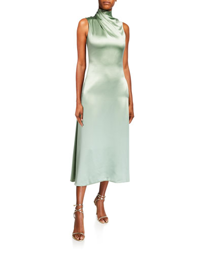 Fluid Silk Wrapped High-Neck Dress