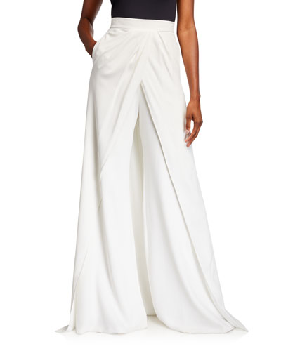 Skirted High-Rise Train-Back Wide-Leg Pants
