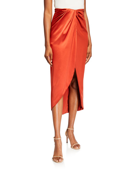 Brandon Maxwell Silk Wrap-Front Slit Skirt
