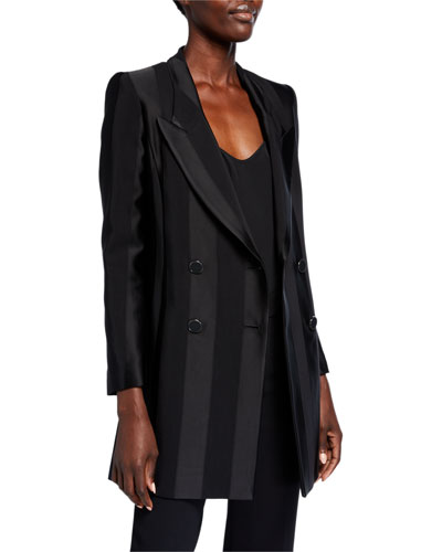 Tonal Striped Double Breasted Long Jacket w/ Peak Lapels