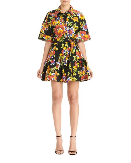 Carolina Herrera Floral Oversized Mini Shirtdress w/ Gathered Flounce Hem