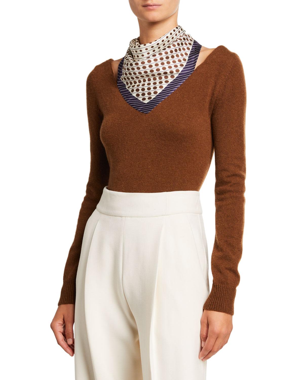 Oscar De La Renta Sweaters CASHMERE SWEATER W/ POLKA DOT SCARF