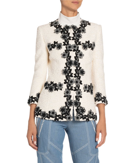 Andrew Gn Flower-Trim Fitted Woven Blazer