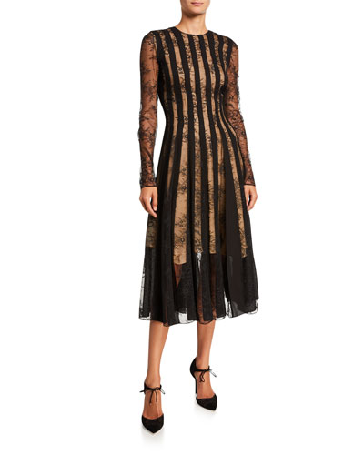 Striped Lace Long-Sleeve Midi Cocktail Dress