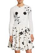 Oscar de la Renta Flower Embroidered Button-Front Wool