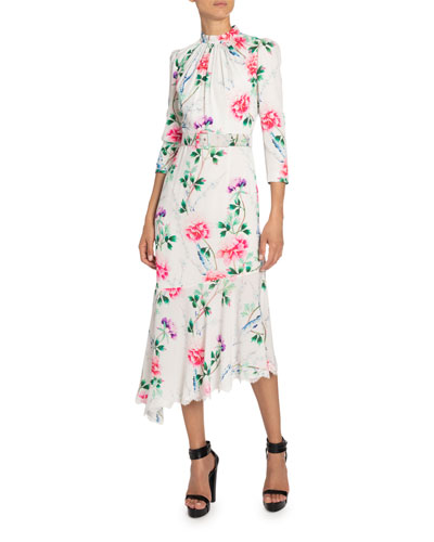 Floral-Print Mock-Neck Asymmetric Dress