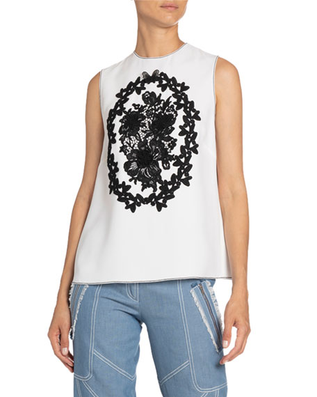 Andrew Gn Floral-Applique Sleeveless Top