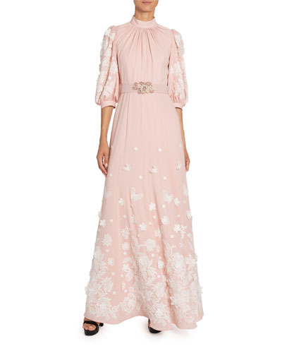Floral-Applique Silk Mock-Neck Gown