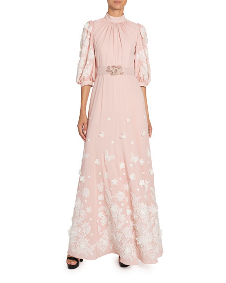 Andrew Gn Floral-Applique Silk Mock-Neck Gown