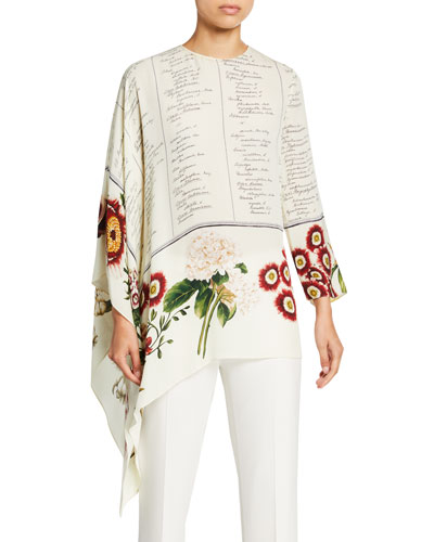Floral Script Asymmetrical Long Sleeve Silk Blouse