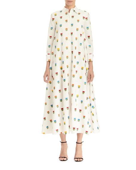 Carolina Herrera Long Floral Shirtdress w/ Waist Tie