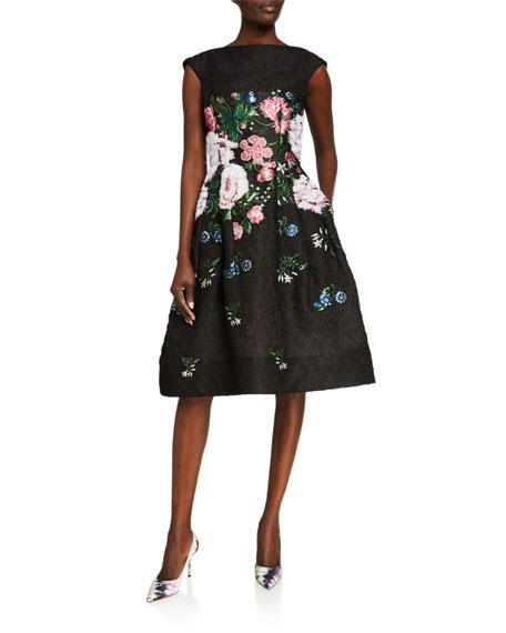 Oscar de la Renta Floral-Embroidered Fil Coupe Dress