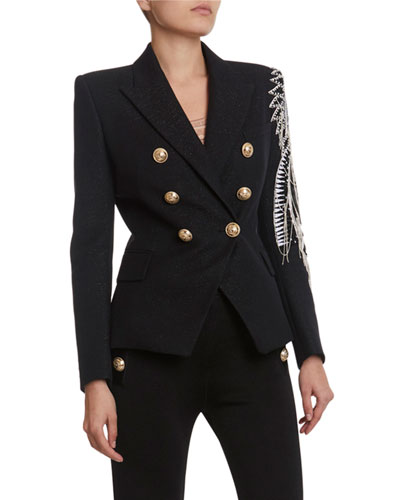 Chain-Embroidered Double-Breasted Blazer