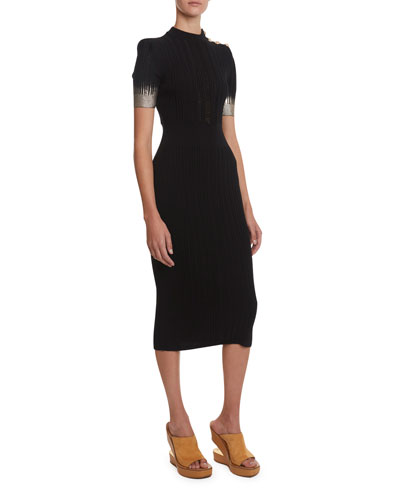 Open Knit Metallic Degrade Dress