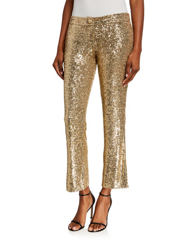 Low-Rise Sequined Flare Pants