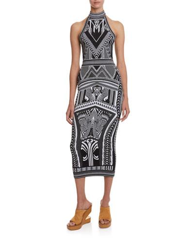 Halter Bodycon Jacquard Dress