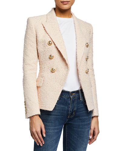 6-Button Boucle Tweed Double-Breasted Blazer Jacket