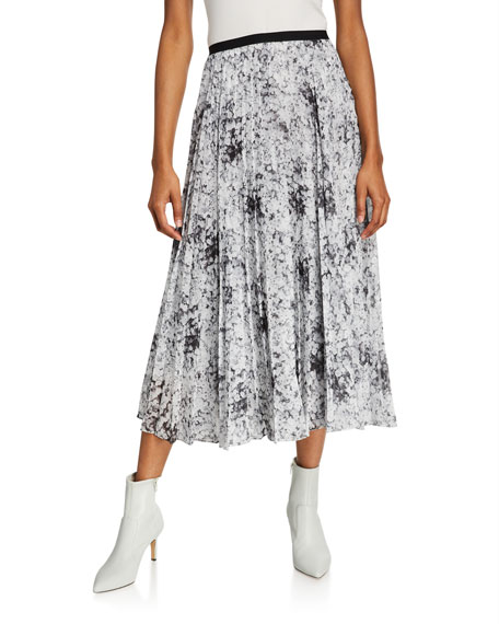 Adam Lippes Floral Print Midi Skirt