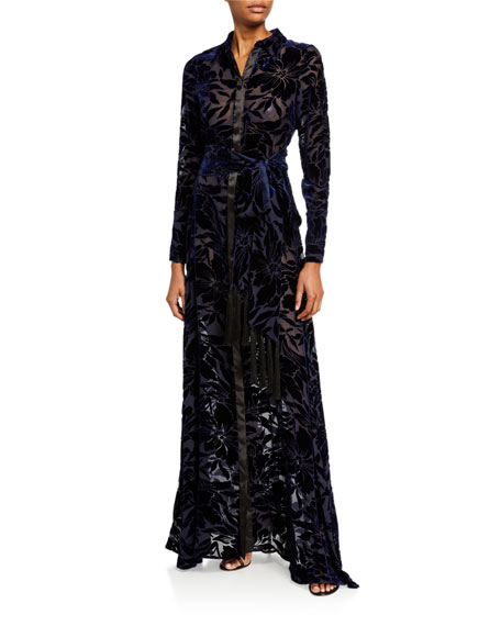 Galvan Winter-Jungle Velvet Shirt Gown