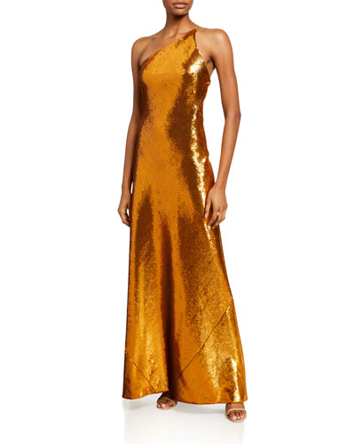 Roxy Gilded Sequin One-Shoulder Gown