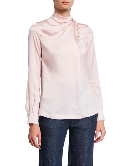 Gabriela Hearst Marcelina Satin Silk Button-Neck Blouse