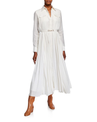 Belted Pleated Dress | Neiman Marcus