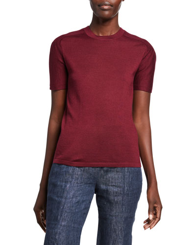 Fitted Cashmere Silk Top | Neiman Marcus