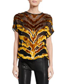 Adam Lippes Tiger-Striped Burnout Velvet Dolman-Sleeve Top and