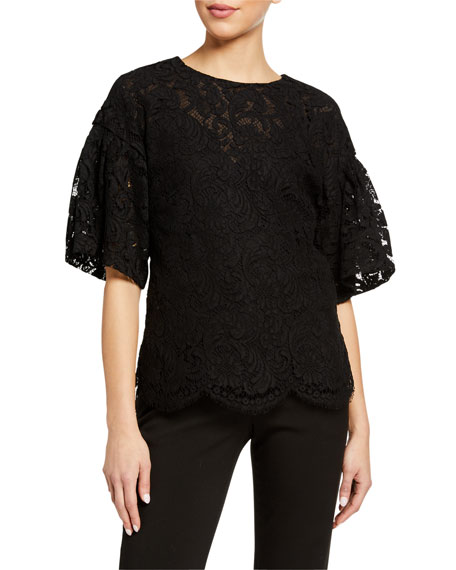 Adam Lippes Flutter Sleeve Corded Lace Top