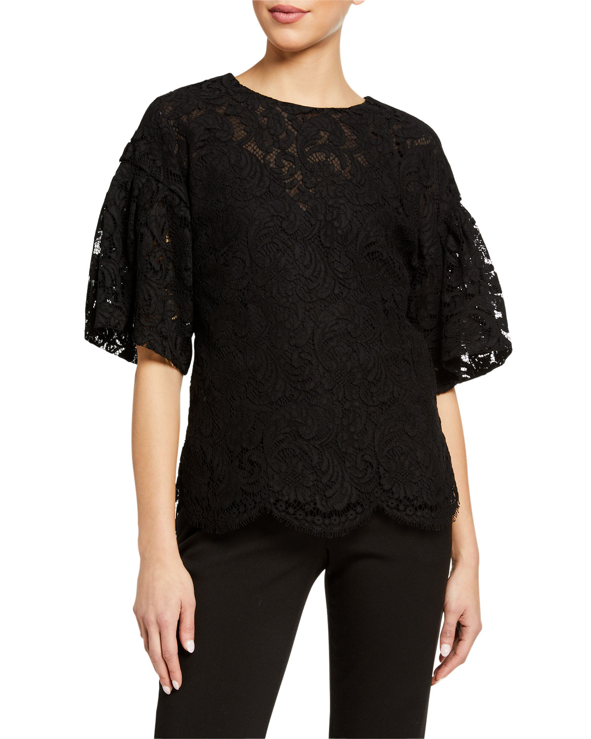 Adam Lippes Tops FLUTTER SLEEVE CORDED LACE TOP