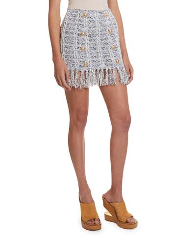 8-Button Fringed Tweed Mini Skirt
