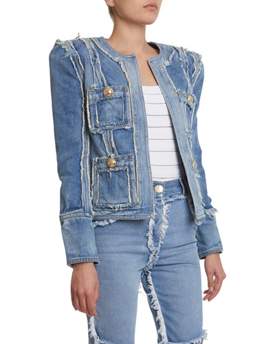 Collarless Denim Patchwork Jacket
