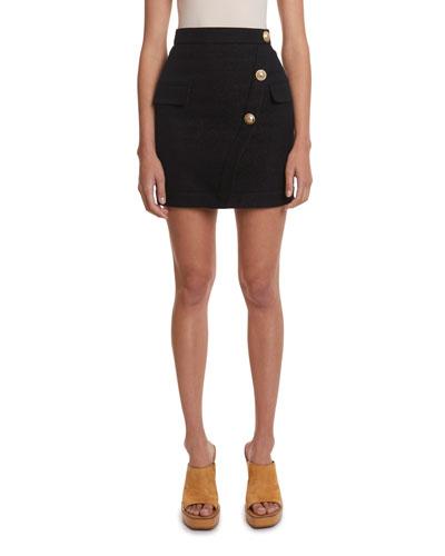 3-Button Wrap Skirt