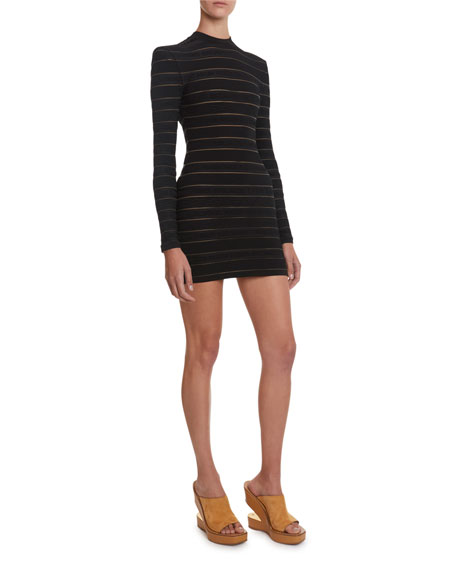 Balmain Tonal Logo Striped Mini Dress