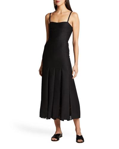 Godard Pleated Mesh-Panel Midi Dress