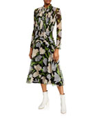 Jason Wu Collection Floral Print Crinkled Chiffon Tie-Neck