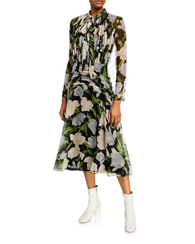 Floral Print Crinkled Chiffon Tie-Neck Dress