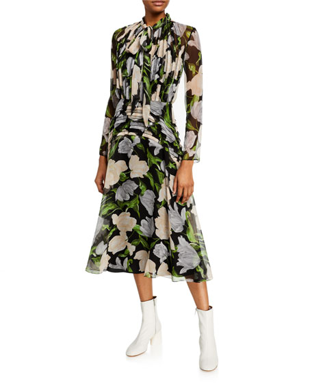 Jason Wu Collection Floral Print Crinkled Chiffon Tie-Neck Dress