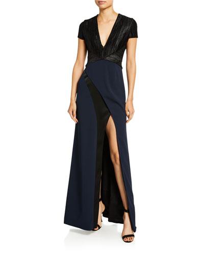 Cap-Sleeve Petal Gown