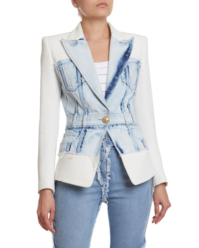 Denim & Crepe Blazer Jacket