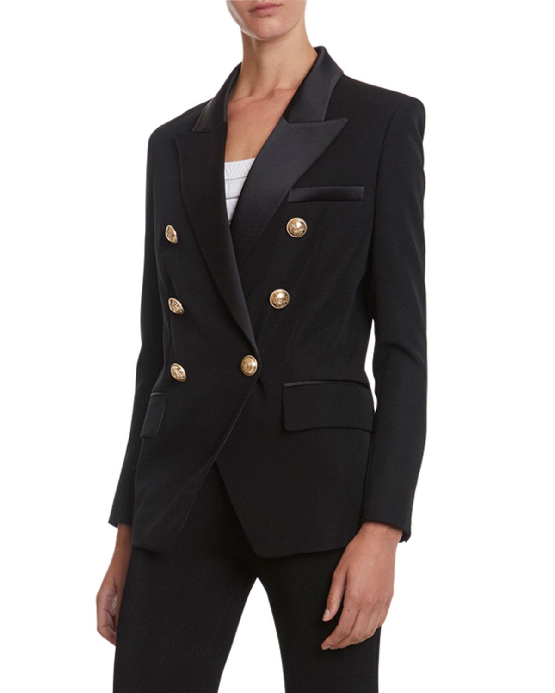 6-Button Oversized Grain de Poudre Jacket with Satin Lapel