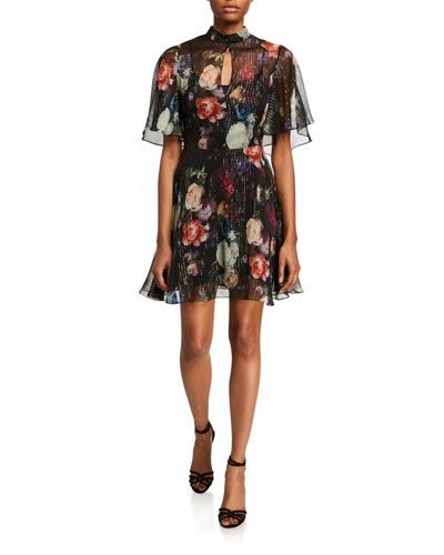 Floral Print Metallic Chiffon Mini Dress