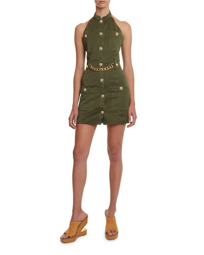 Golden-Chain Military Halter Dress