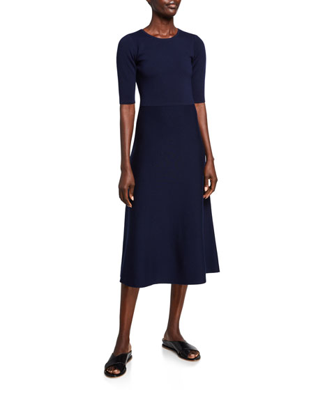 Gabriela Hearst Seymore Wool-Cashmere 1/2-Sleeve Dress