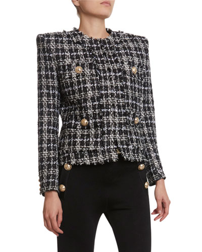 Metallic-Flecked Tweed 4-Pocket Jacket