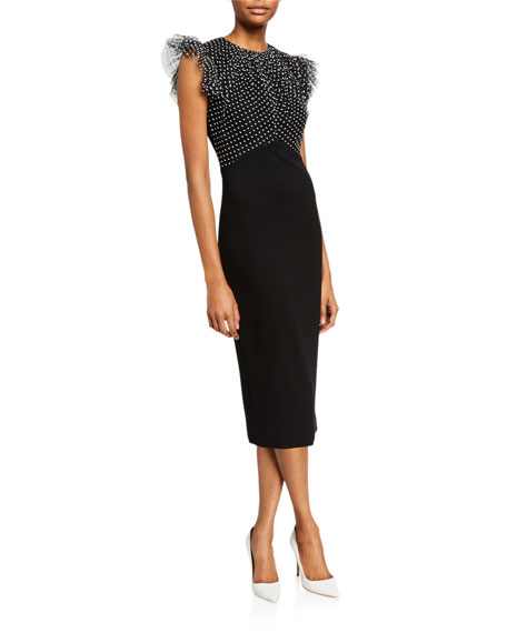 Jason Wu Collection Ruched Polka-Dot Lace Stretch Ponte Dress