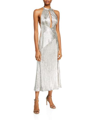 Metallic Jersey Halter-Neck Dress