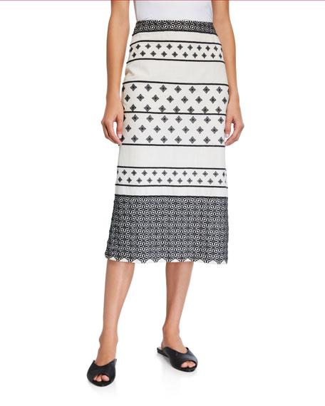 Johanna Ortiz Spell-Binding Geometric Striped Skirt
