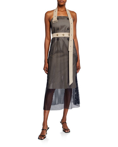 Mesh-Layered Trench Halter Dress